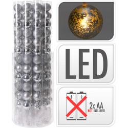 Коледни LED топки 12 броя / 50мм сребро