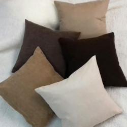 Декоративна възглавница с цип и пълнеж 43х43см /  тъмен шоколад