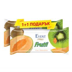 Мокри кърпички Пъпеш и киви - 15 броя / промо пакет 1+1