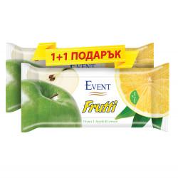 Мокри кърпички Ябълка и лимон - 15 броя / промо пакет 1+1