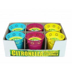 Свещ Citronella против насекоми в цветна метална купичка 13х12 см