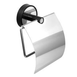 Държач WC за тоалетна хартия с капак Kapitan Optimo черно