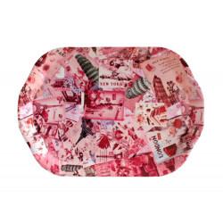 Пластмасов поднос цветен декор Т14-406 31х46см