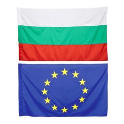 Комплект знаме на България и знаме на ЕС 90/150 см