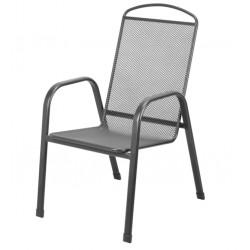Метален мрежесто перфориран стол с подлакътници TLM035-C2 тъмносив