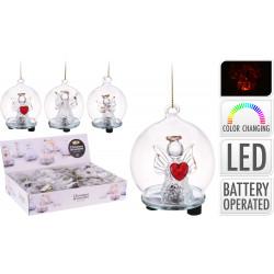 Коледна светеща LED топка Angel 6см / стъкло