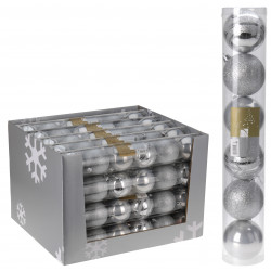 Коледни топки 6 броя / 70мм сребро ACS100310