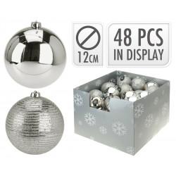 Коледна топка 12см сребро ACS200110
