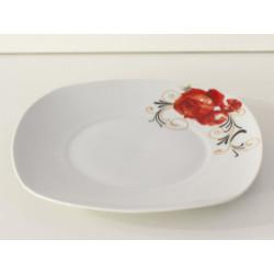Порцеланова чиния с червено цвете