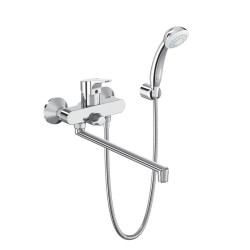 Стенен смесител за вана/душ с дълъг чучур и аксесоари SevaNext