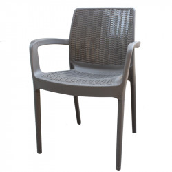 Градински стол PVC ратан антрацит