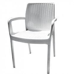 Градински стол PVC ратан бял