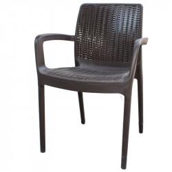 Градински стол PVC ратан кафяв