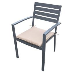 Алуминиев стол с възглавница 57х57х86 см тъмносив