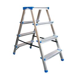 Алуминиева домакинска двустранна стълба Drabest 2х4 стъпала 125кг
