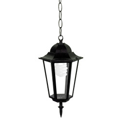 Градински фенер черен IP33 висящ
